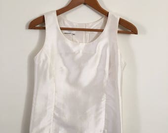 Vintage Silk button up shinny Tank top