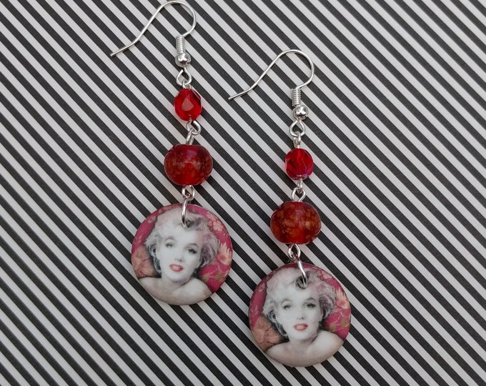 Red Marilyn Monroe Statement Earrings