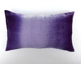 "Violet, ultraviolet ombre hand-painted velvet pillow cover, 30 x 50cm (12"" x 20""), READY TO SHIP, Uk"