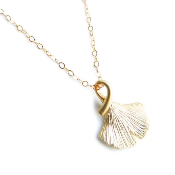 Gold Ginkgo Leaf Chram Necklace