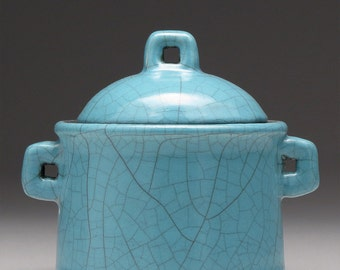 Ceramic Trinket Box, turquoise blue, round handmade raku fired clay box, treasure box, home decor, lidded box