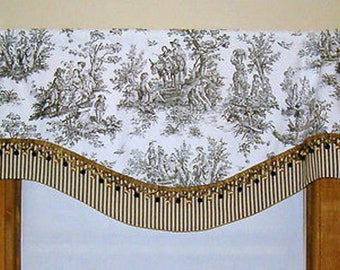 Country French Valance in Black and White Toile with coordinating Ticking Stripe and Fringe Trim