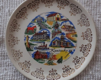 Vintage Kentucky Derby Churchill Downs Daniel Boone State Souvenir Plate