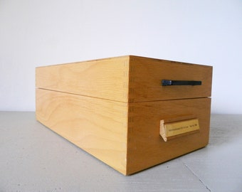 Han File box 60s/Index box with register/Vinatge/vintage Box wood/card box 1960 's