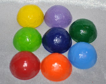 Soccer Ball Shaped Recycled Crayons, Total of 8 Crayons.  Boy or Girl Kids Unique Party Favors, Crayons.
