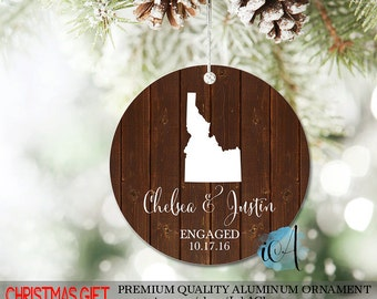 Christmas Ornament, Engagement Ornament, Engagement Gift, Family Ornament, Personalized Gift, State Ornament, Map Ornament, Wedding Ornament