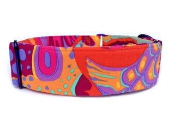 Painted Fish Martingale Dog Collar or Buckle Quick Release Dog Collar, Red, Orange, Purple, Yellow Abstract Art, Bold, Colorful Dog Collar