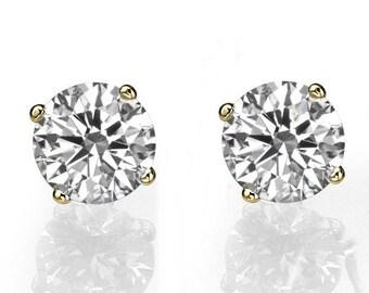 Stud Earrings, Diamond Stud Earrings, 14K Gold Earring Studs, 1.4 CT Diamond Earrings, Gold Stud Earrings, Classic Diamond Studs