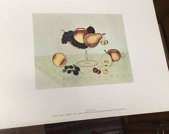 AMERICAN PRIMITIVE WATERCOLOR Print: Still Life, by Emma Cady