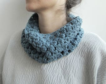 Blue Jean- Linen and Cotton Cowl scarf
