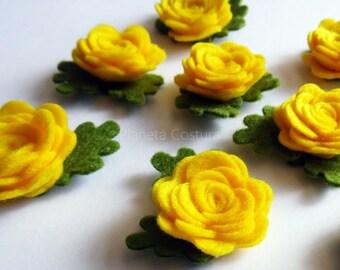 Apliques flores fieltro, amarillo, figuras fieltro
