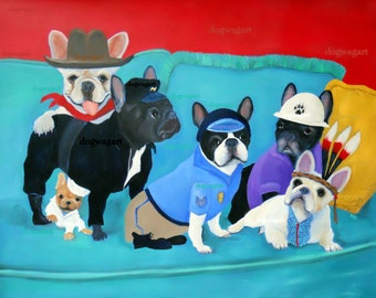 """French Bulldog Art Print of an original oil painting -""""The Village Frenchies"""" / 8 x 10 /Dog Art"""