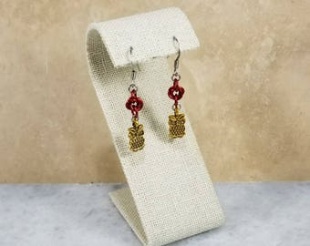 Chainmaille Earrings - Red with Owl Charms
