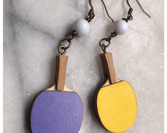 ping pong paddle earrings