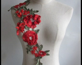 Floral Appliques.Red Embroidered Lace,Macrame Clothing Accessories