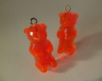 4 Neon Orange Gummi Bear Charms Pd96