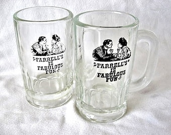 Two Vintage 'Farrell's Is Fabulous Fun' Farrell's Ice Cream Parlour Glass Mugs