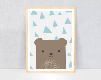 bear print / kids art print / kids wall art / cute illustration / bright colours / kids poster print / fruit