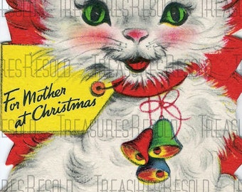 Retro Kitty Cat Christmas Card #595 Digital Download