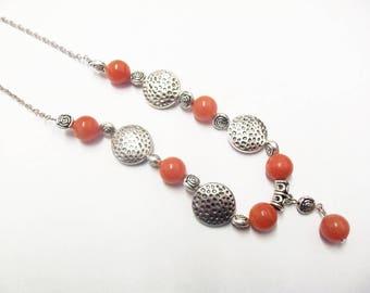 Necklace gemstones orange spacer circles and flowers