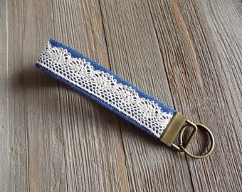 wristlet key chain, wrist key fob in blue with vintage lace detail, fabric key chain for wrist, fabric key fob, key chain for your wrist