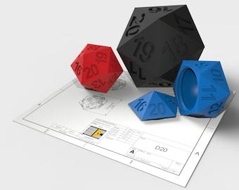 3D Printed D20 Magic life counter Dice Box