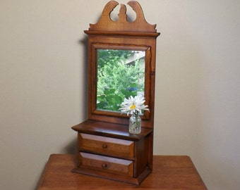 Pine Cabinet With Mirror~ 2 Drawers ~ Spice Cabinet ~ Apothecary Cabinet ~ Shaving  Cabinet