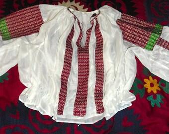 Vintage Romanian Blouse embroidery panels appliquéd on white chiffon