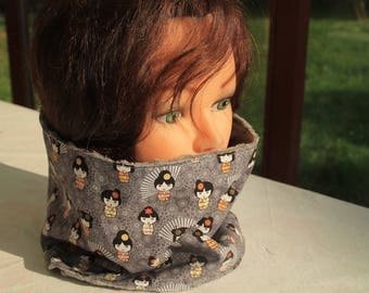 Snood, cowl neck in cotton and fleece