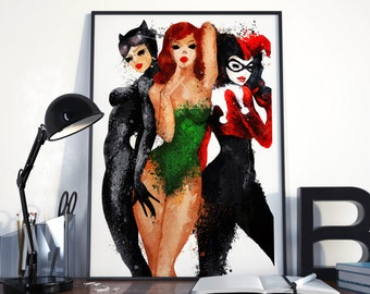 Harley Quinn, Catwoman, Poison Ivy. GOTHAM CITY SIRENS  poster or original painting