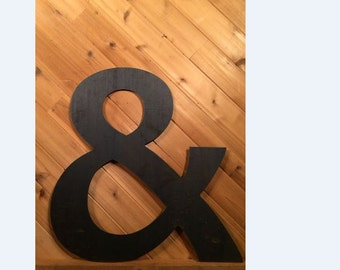 "Large 18"" Raw or Painted Metal Ampersand & Rustic Metal Sign - Large Metal Letter - Metal Wall Art - Farmhouse sign - Farmhouse Decor"