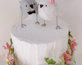 Wedding cake topper, lovebirds, grey and white,  custom made