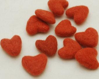3cm 100% Wool Felt Hearts - 10 Count - Coral Orange