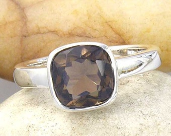Cushion Cut Smoky Quartz Band Ring Sterling Silver, MADE TO ORDER in your ring size
