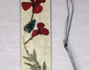 Red geranium and lavender pressed flower bookmark