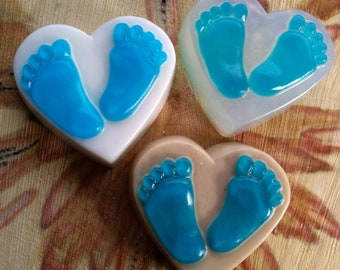 All-natural baby boy blue feet heart soaps glycerin goat's milk or oatmeal