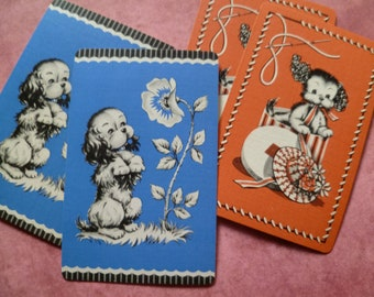 5 Vintage 1940's Adorable Puppies Playing Cards
