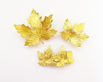Bridal Hair Accessories Bridesmaid Clips Gold Maple Leaf Barrettes Rustic Woodland Wedding Bride Womens Gift For Her Vintage Inspired Style