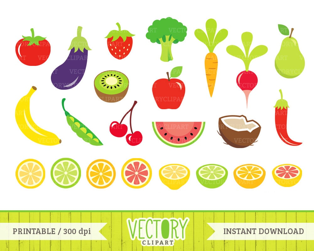 23 Fruits and Vegetables Clip Art Healthy Food Clipart