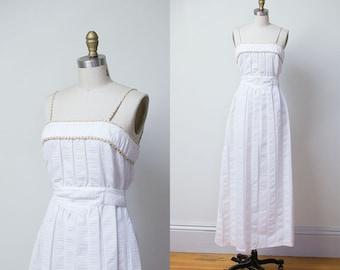 1970s Maxi Dress / 70s White Sundress