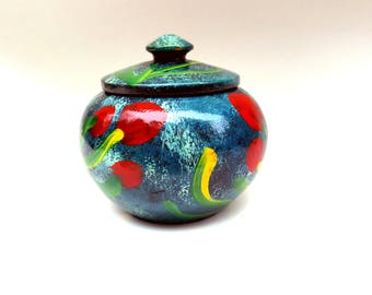 Vintage Mexican treenware covered sugar bowl desk accessory turned wood lidded hand painted red blue yellow green flowers office storage