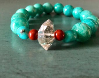 Gorgeous Vintage style Amazonite and Herkimer Diamond Bracelet with Campitos Turquoise and AA Red Jasper Accent Gemstones.