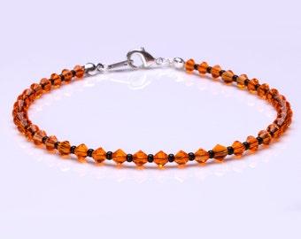 Swarovski Crystal Sun Orange and Black Seedbead Bracelet