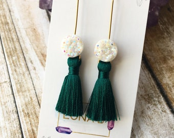 White Druzy & Emerald Tassel Earrings