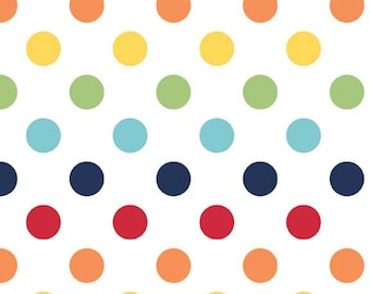 Rainbow Medium Dots Fabric by Riley Blake Designs - Half Yard - 1/2 Yard - C360-01