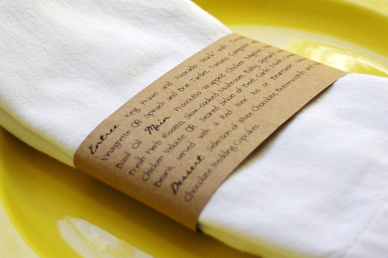 Kraft Napkin Ring Menus Handmade Custom Wedding Menu Napkin