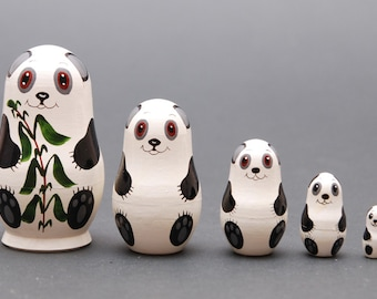 Panda Nesting dolls matryoshka set  of  5 pc Free Shipping plus free gift!