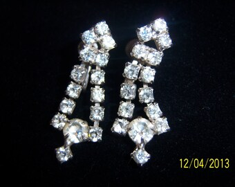 Crystal Dangle Screw on Earrings