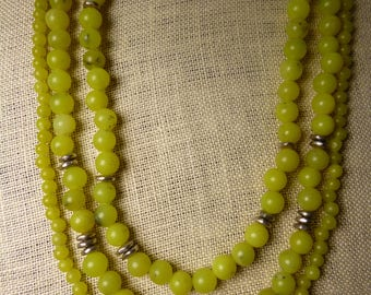 multi strand olive jade and silver beaded necklace