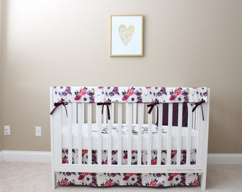 Floral Crib Bedding/ Baby Girl Bedding / Purple and Pink Floral Baby/ Floral Fitted Sheet/ Girly Baby Bedding / Floral Changing Pad Cover